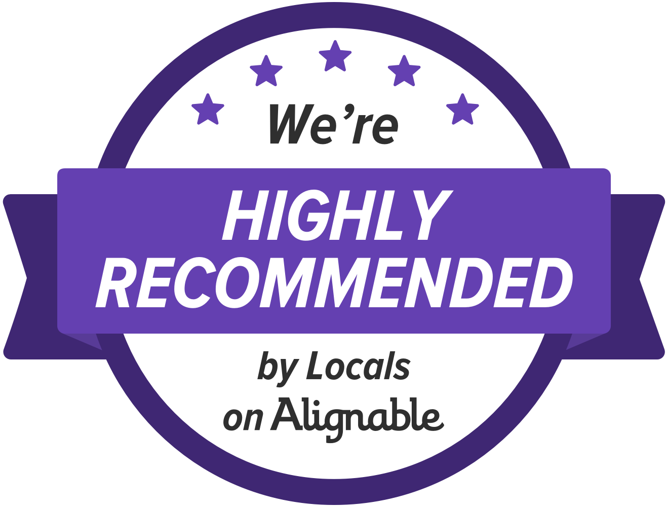 We're highly reccomended by locals on Alignable!